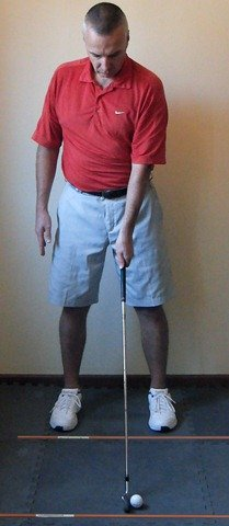 Figure 3. Addressing the Golf Ball - Step to the right, taking perfect stance width
