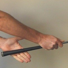 Figure 1.  Taking your golf grip - placing the left hand on the club