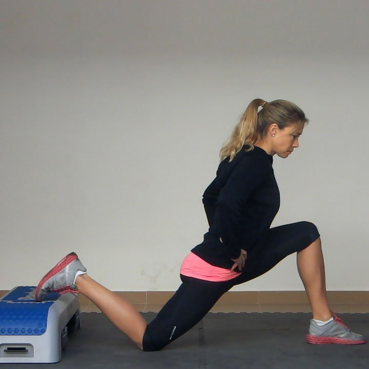 Hip Flexor Stretch Kneeling Back Foot Elevated Exercise