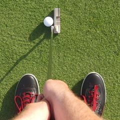View from dominant eye, putter shaft looks vertical