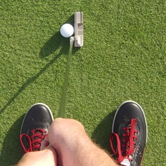 View from dominant eye, putter shaft actually vertical