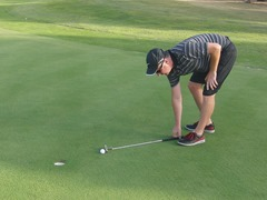 Golf Isn't Fair!  Measure one putter length from the ball away from the hole…
