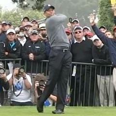 Tiger Woods' follow-through, balanced finish, weight on left heel