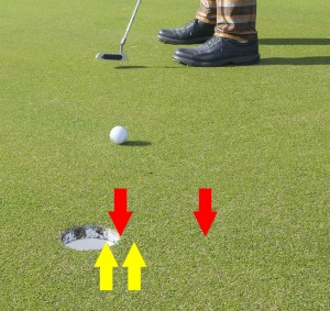 Below the hole vs. pin high, 2% slope, 8 stimp.