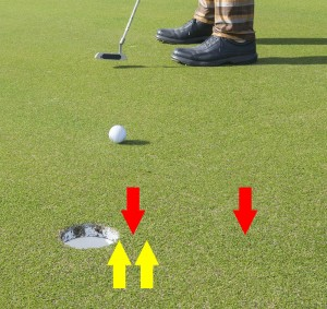 Below the hole vs. pin high, 2% slope, 10 stimp.