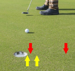 Below the hole vs. pin high, 2% slope, 12 stimp.